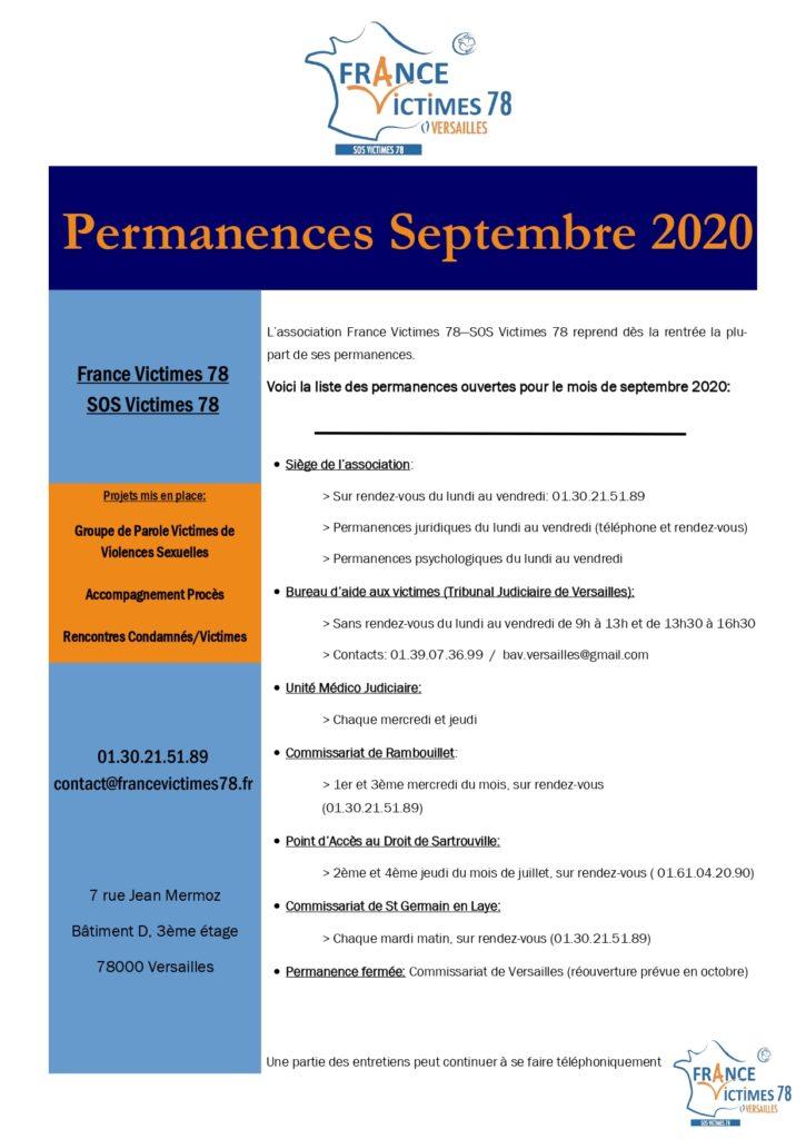 permanences septembre 2020